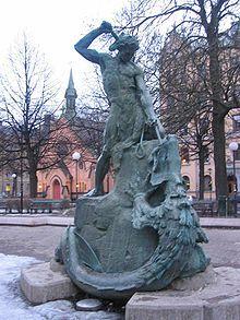 Tors fiske, skulptur och fontän på Mariatorget, Stockholm.