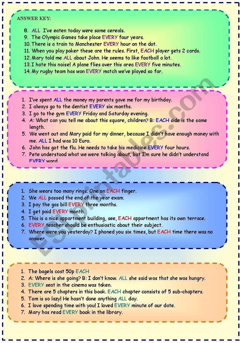All Every Each Worksheet Worksheets Grammar Worksheets Teaching Grammar worksheets answer key