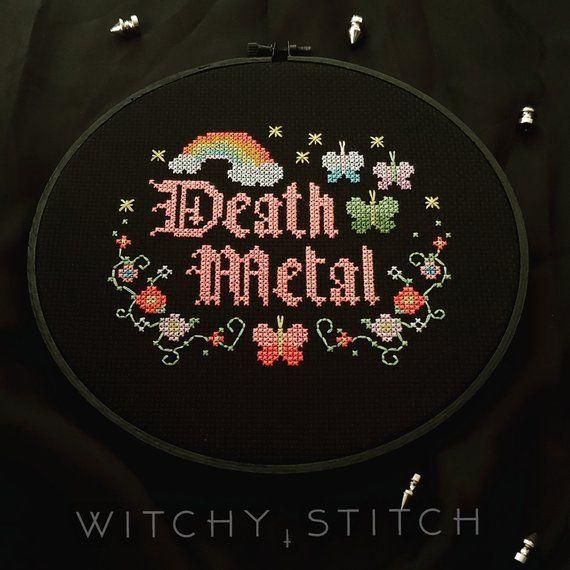 Photo of PATTERN – Death Metal – Gothic Cross Stitch Pattern – Hail Satan, Black Metal, Occult, Pastel, Rainbow, Butterfly