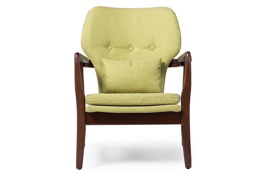 Mitte Des Jahrhunderts · Baxton Studio Rundell Green Upholstered Leisure  Accent Chair In Walnut Wood Frame