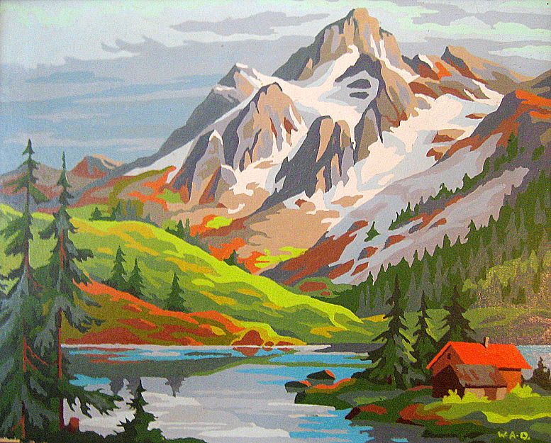 Tell Me All About Your Day Vintage Paint By Numbers Mountain Paintings Vintage Painting Landscape Illustration