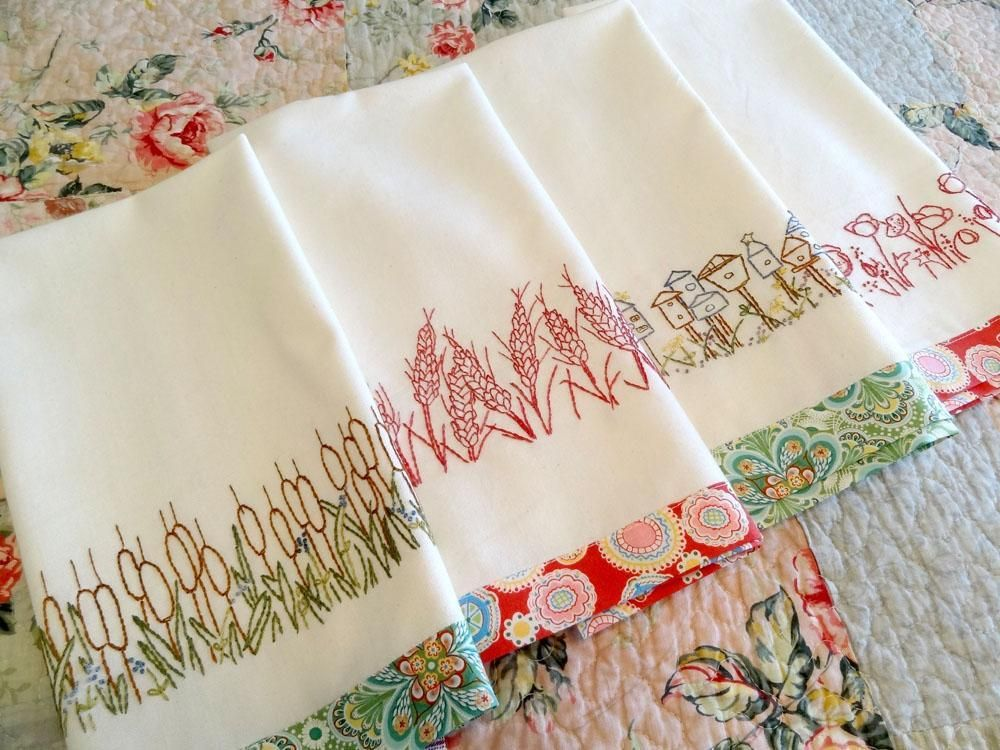 Embroidery Designs Hand Stitch | Embroidery: Redwork Towels Nature Hand  Embroidery