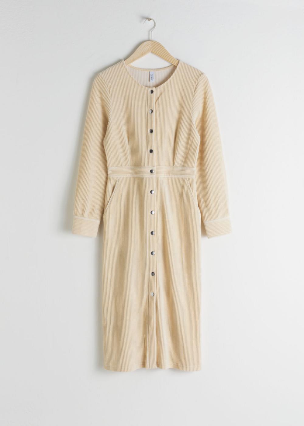 Long Sleeve Corduroy Midi Dress Beige Midi Dress Midi Dress Dresses [ 1400 x 1000 Pixel ]