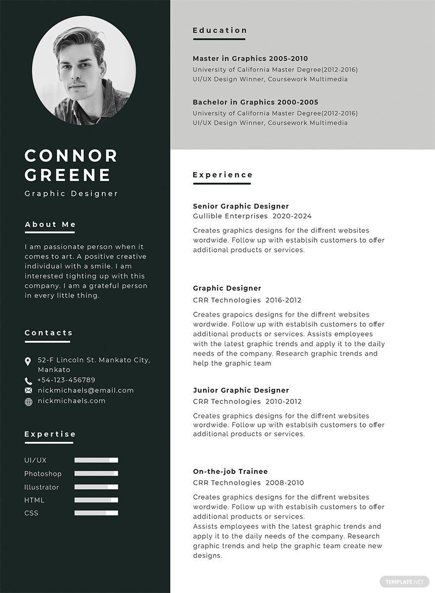 Free Experience Resume Graphic design resume, Cv resume