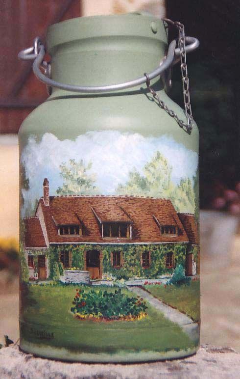 bidon de lait peint recherche google pots de lait peints pinterest bidons de lait. Black Bedroom Furniture Sets. Home Design Ideas