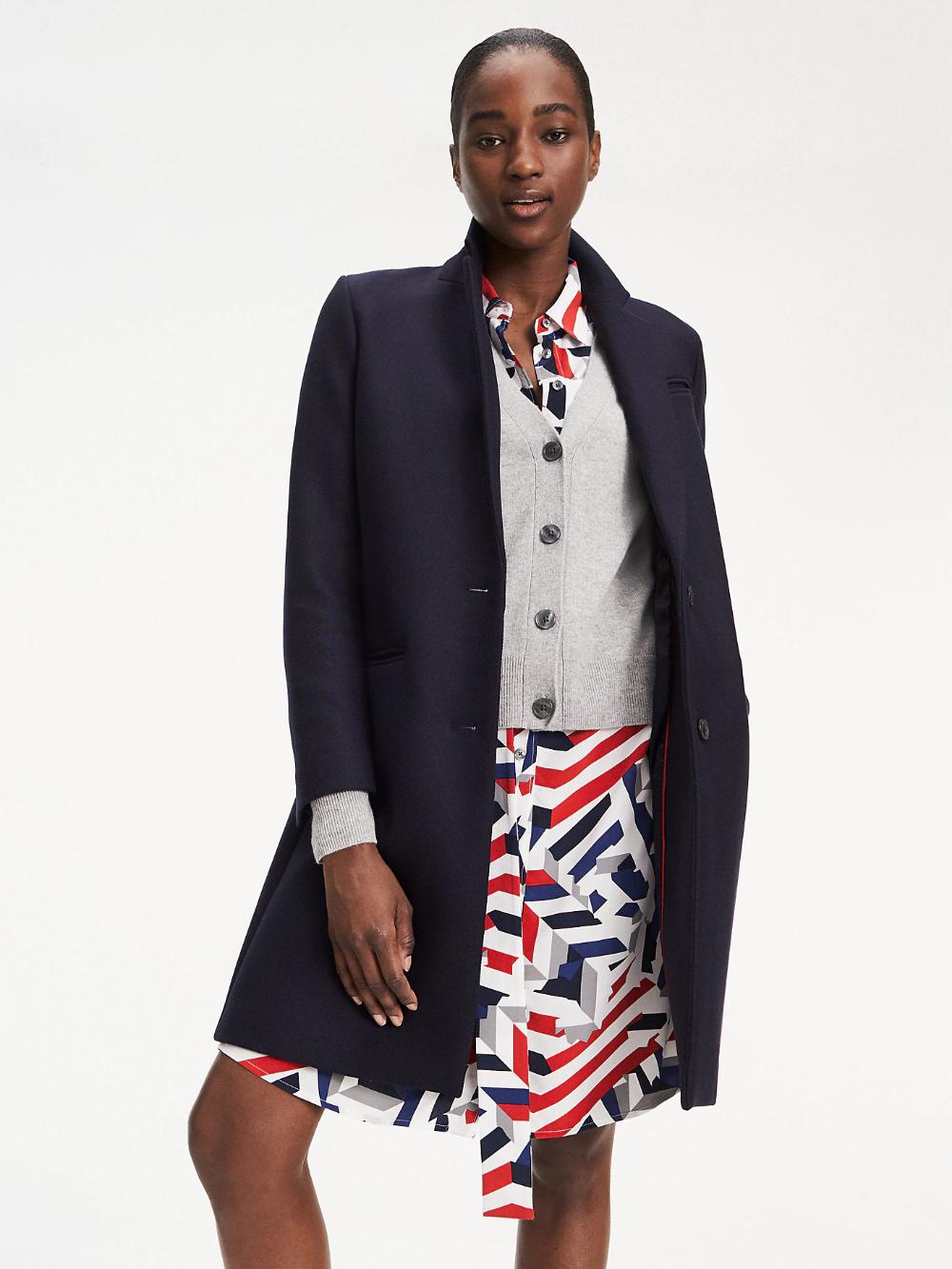 Wool Blend Classic Coat Blue Tommy Hilfiger Coats For Women Women S Coats Jackets Outerwear Jackets [ 1333 x 1000 Pixel ]