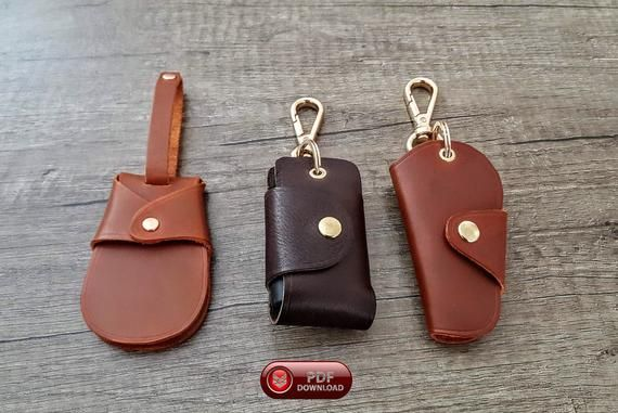 Leather Key Fob Keychain Patterns 3 Different Pdf Keychain Etsy Leather Key Fobs Leather Keychain Leather Diy