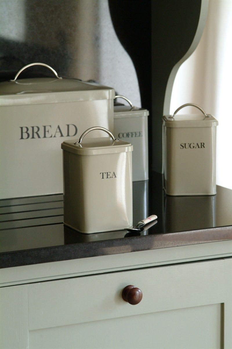 bread bin set - clay breadbin with tea, coffee & sugar canisters