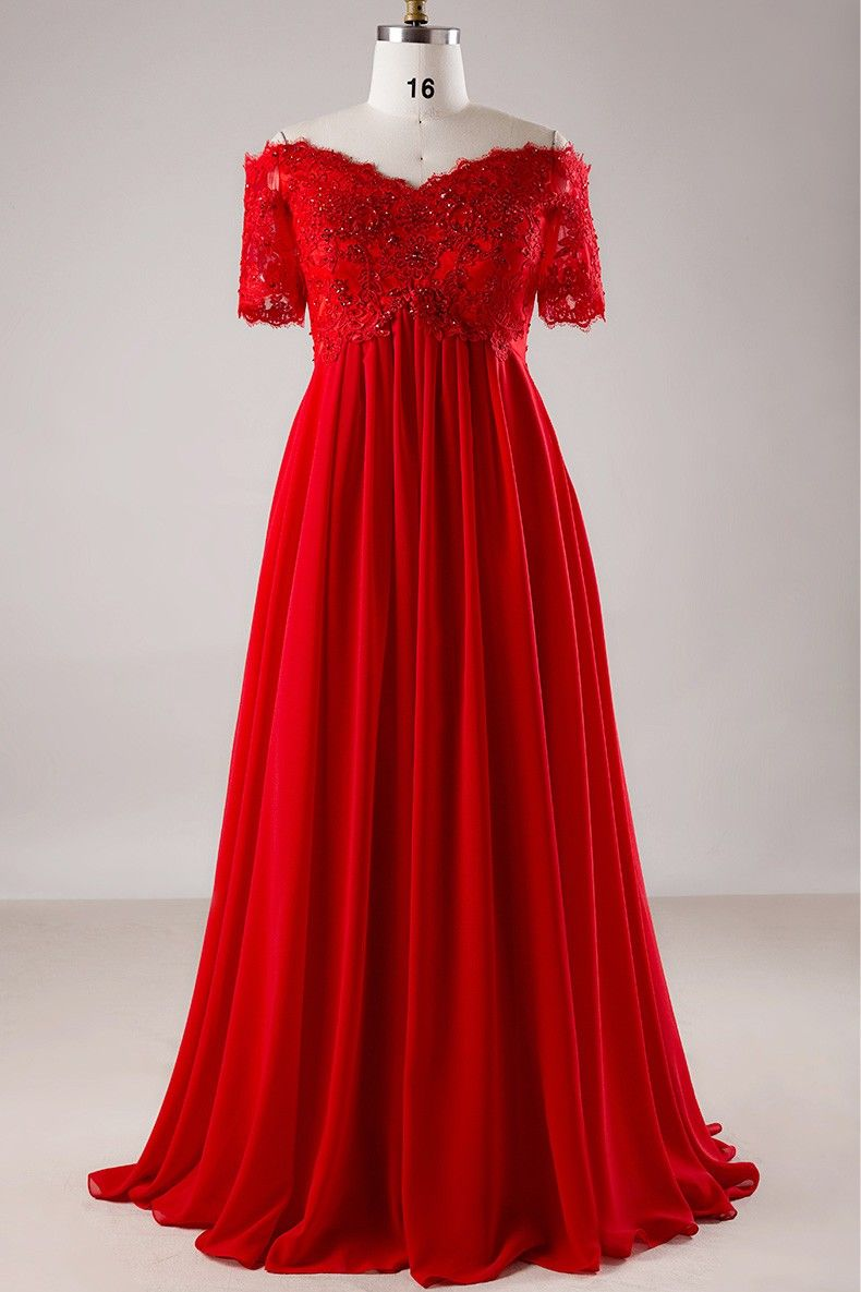 Plus size red sequin lace off shoulder empire long formal dress with