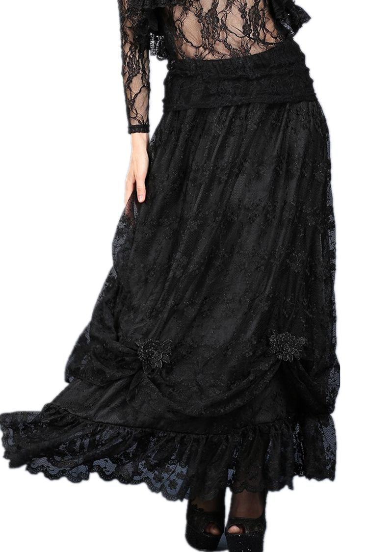 Long black lace skirt with roses gothic vampire victorian romantic