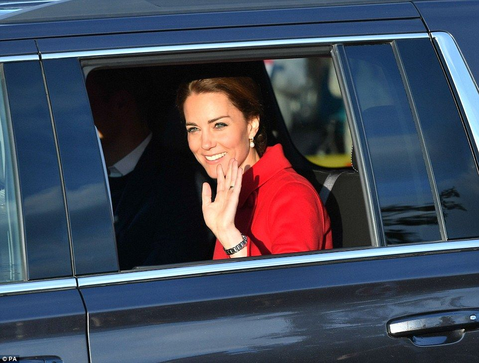 The Duchess of Cambridge waved to well-wishers as she and William arrived at the MacBride ...
