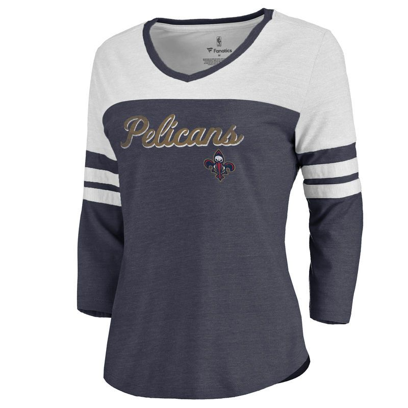 4200c7697 Women s Fanatics Branded Navy New Orleans Pelicans Rising Script Color Block  3 4 Sleeve Tri-Blend T-Shirt