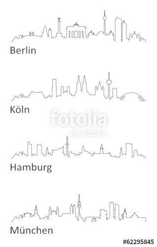 Vektor Skyline Berlin Koln Hamburg Munchen Koln Hamburg Vektorgrafik Wachsmalstifte