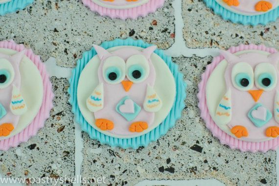 Owl Pink/Blue Fondant Toppers for Cupcakes Cookies by PastryShells