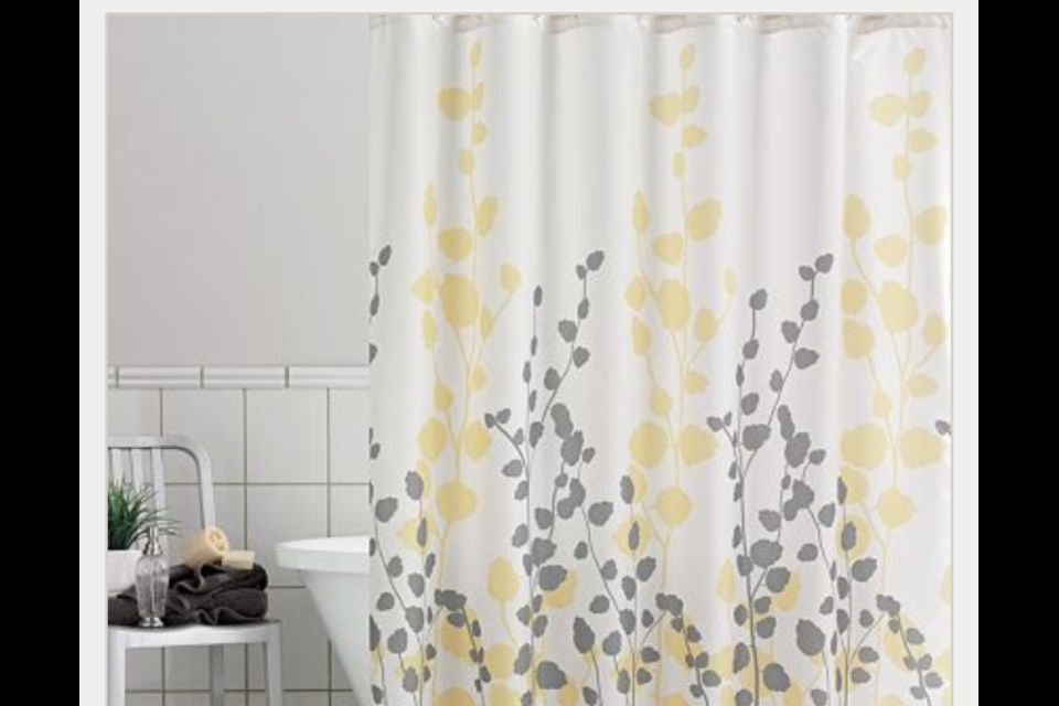 Yellow And Grey Shower Curtains Yellow Bathrooms Yellow Shower