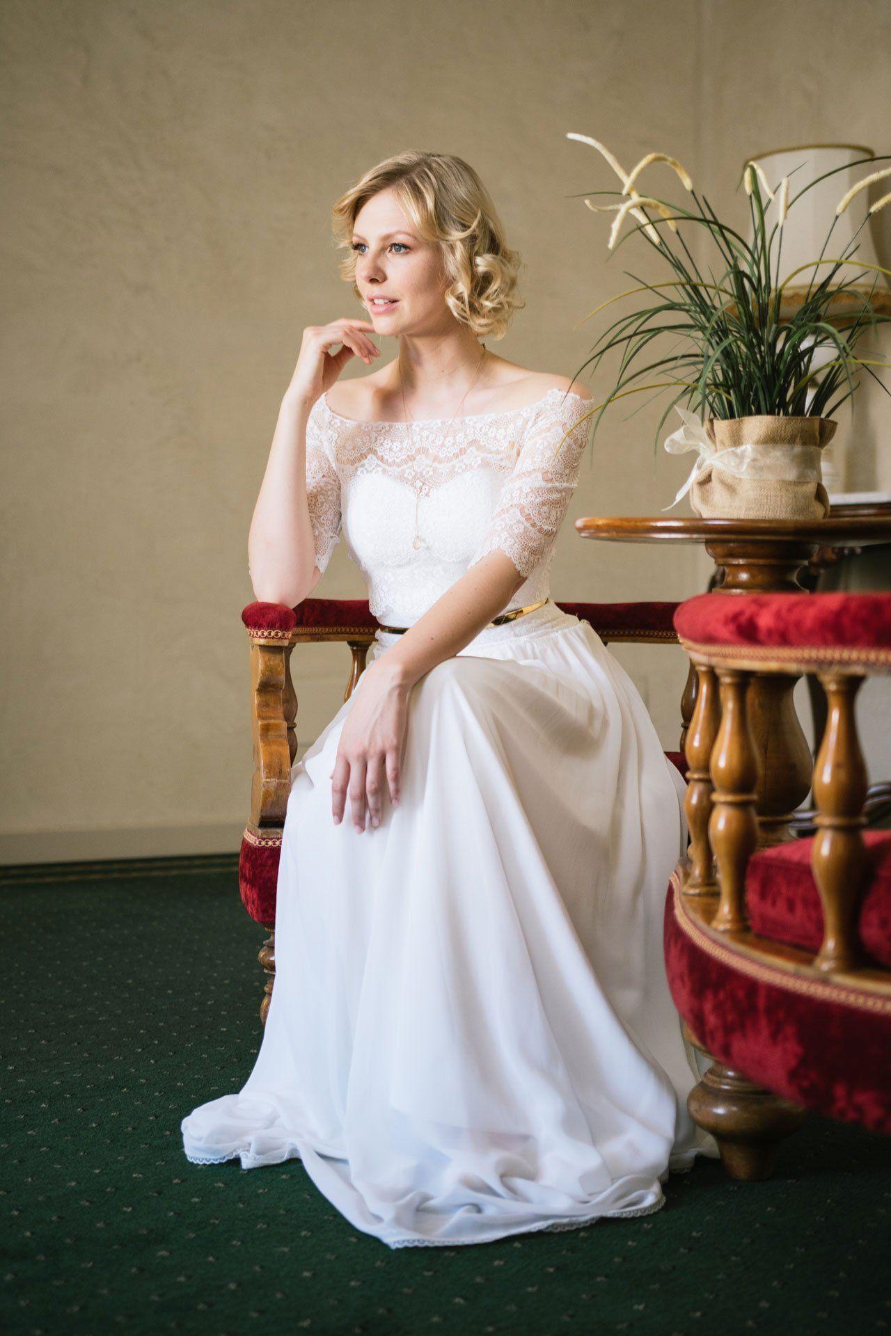 Brautkleid 20er Jahre Stil Mit Spitzenbolero Festliche Kleider