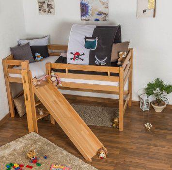 Amazon De Kinderbett Hochbett Samuel Buche Vollholz Massiv Mit Rutsche Natur Inkl Rollrost 90 X Kinderbett Hochbett Kinderbett Hochbett