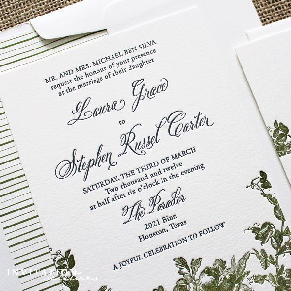 letterpress wedding invitation with floral accents and striped envelope liner - Wedding Invitations Houston