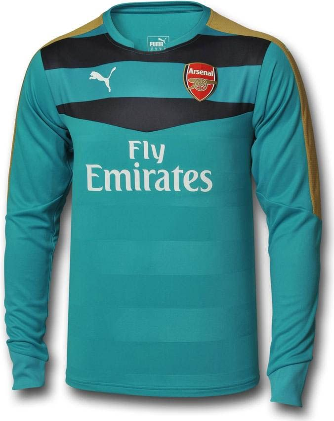 The new Arsenal Goalkeeper Kit is dark gray with golden and white details,  while the Puma Arsenal Goalkeeper Away Kit is turquoise.