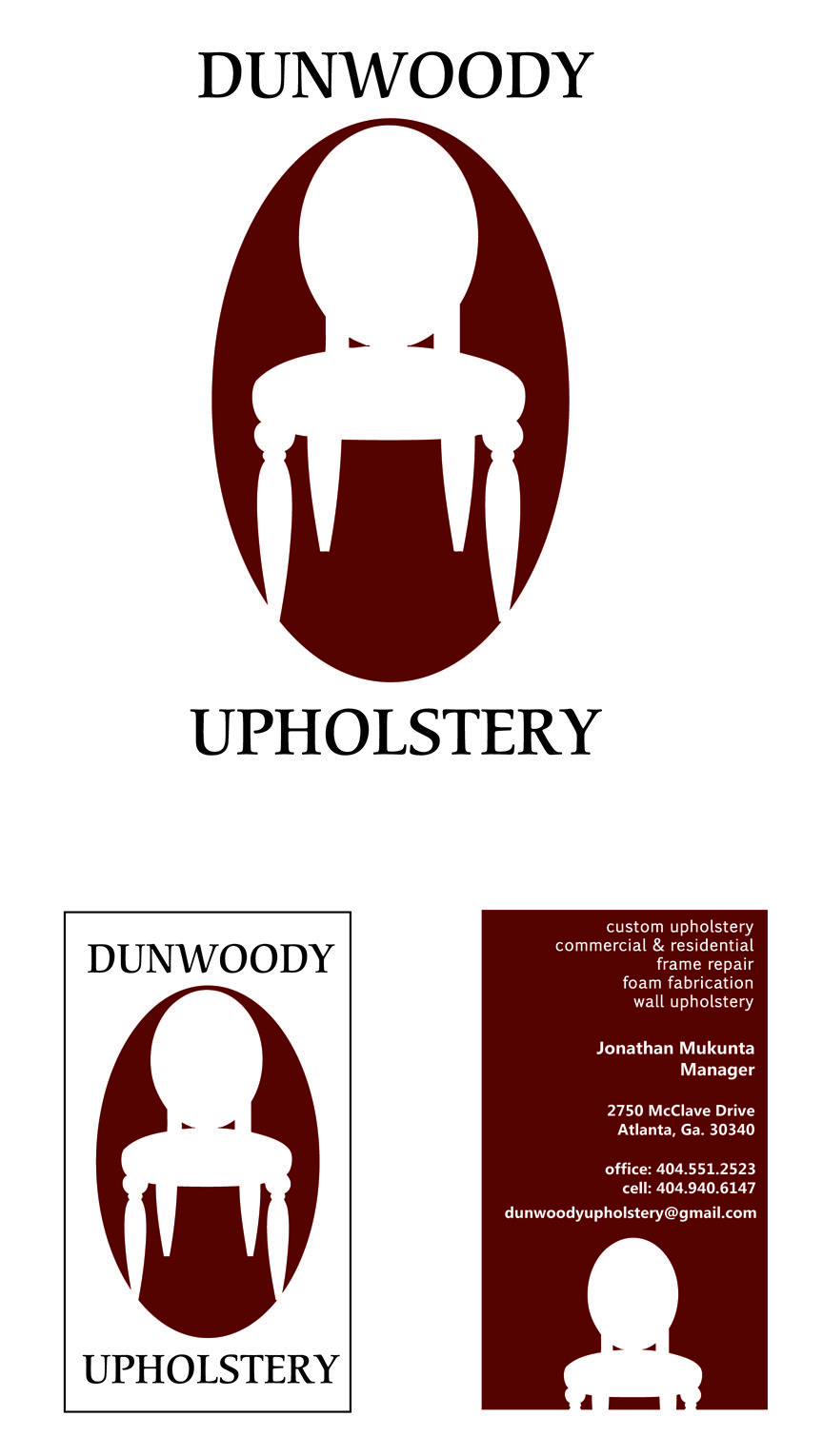 Final logo and business card design chosen for Dunwoody Upholstery ...