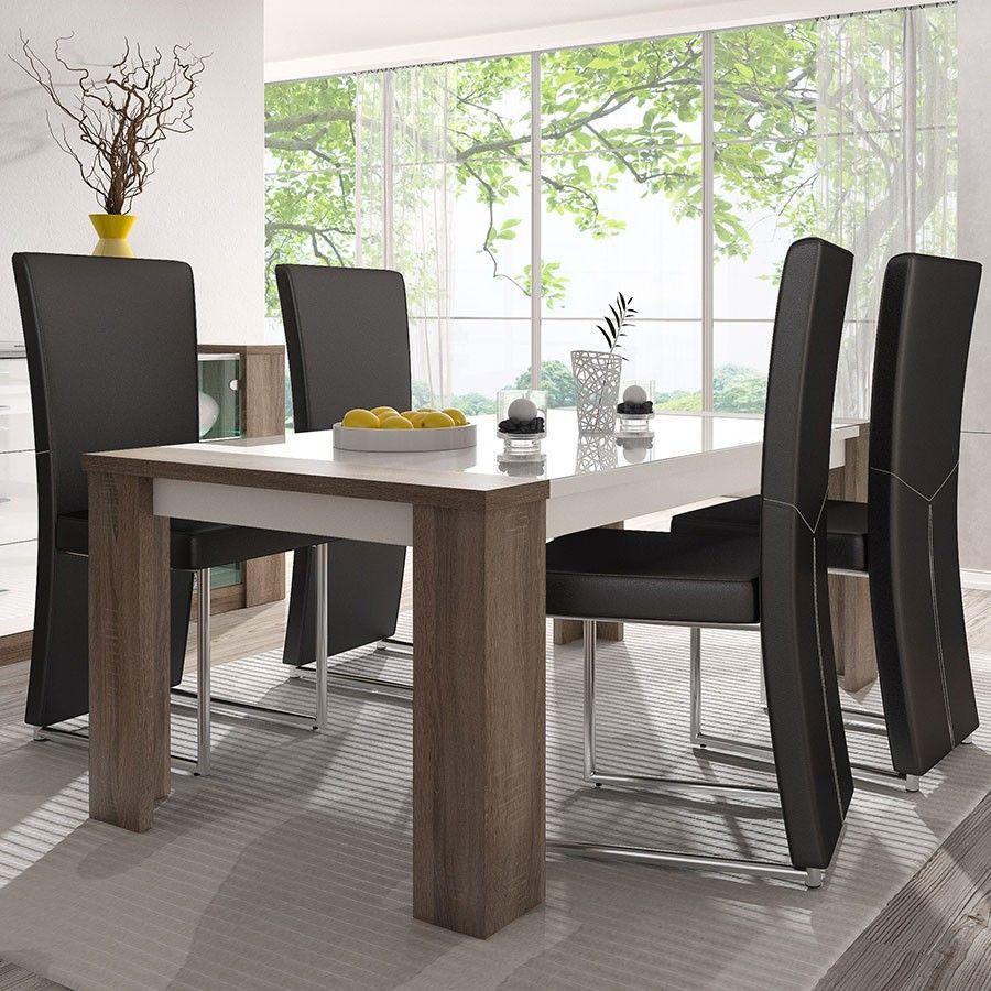 Table De Salle à Manger Moderne Blanc Et Chêne Truffier ARMELLE Bonnes Idees