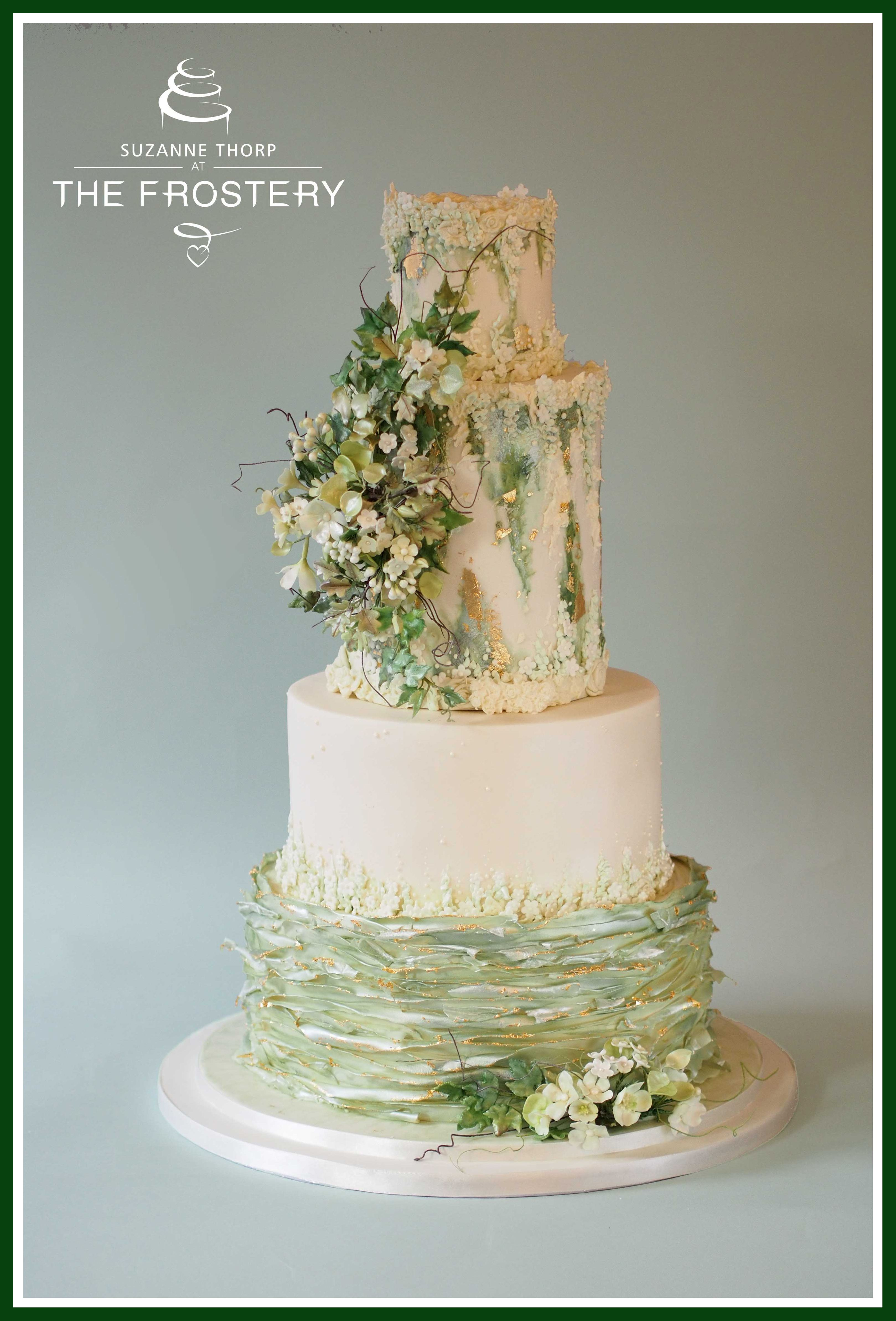 Pale Sage Green Gold And Ivory Wedding Cake