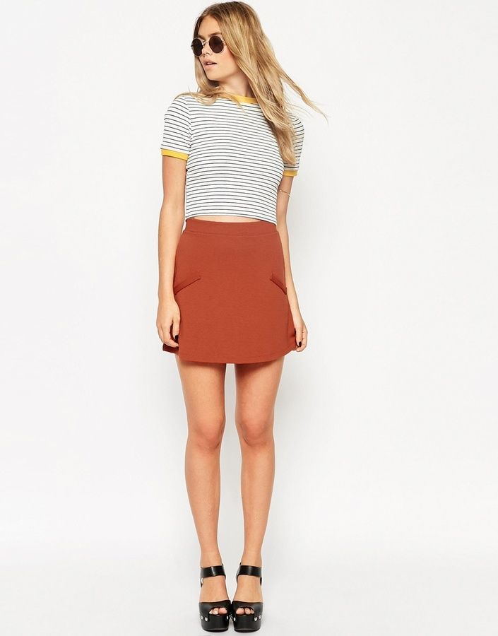 This burnt orange, A-line skirt from Asos is on-point for Fall Fashion in 2015!