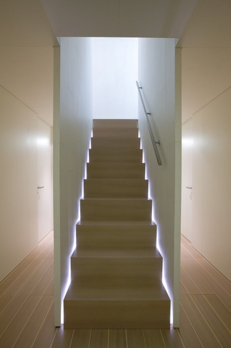 Love the stair lighting. Interior view of the Baracuda yacht (Perini Navi)  by John Pawson _