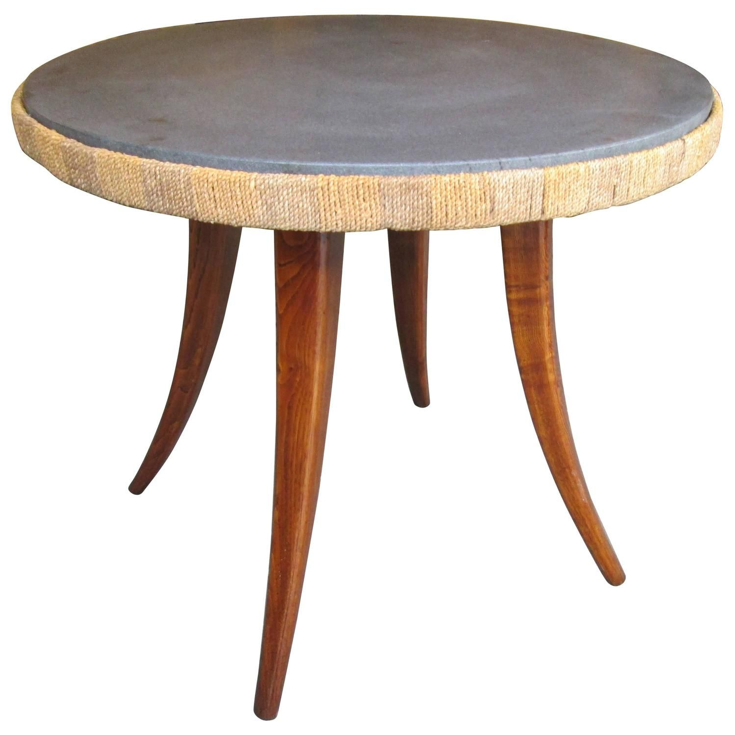 Unusual French 1940s Marble Top Table With Jute Apron On Splayed Legs Marble Table Top Marble Top Splayed Leg