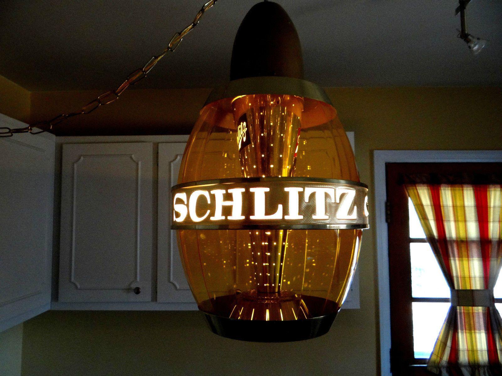 Huge Vtg Schlitz Beer Barrel Rotating Motion Mid Century