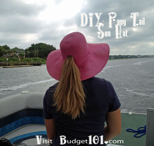 DIY Pony Tail Sun Hat- keep your long hair off your neck and out of your  face with a simple DIY Pony Tail Sun Hat (click on photo for directions) b2b22596e76