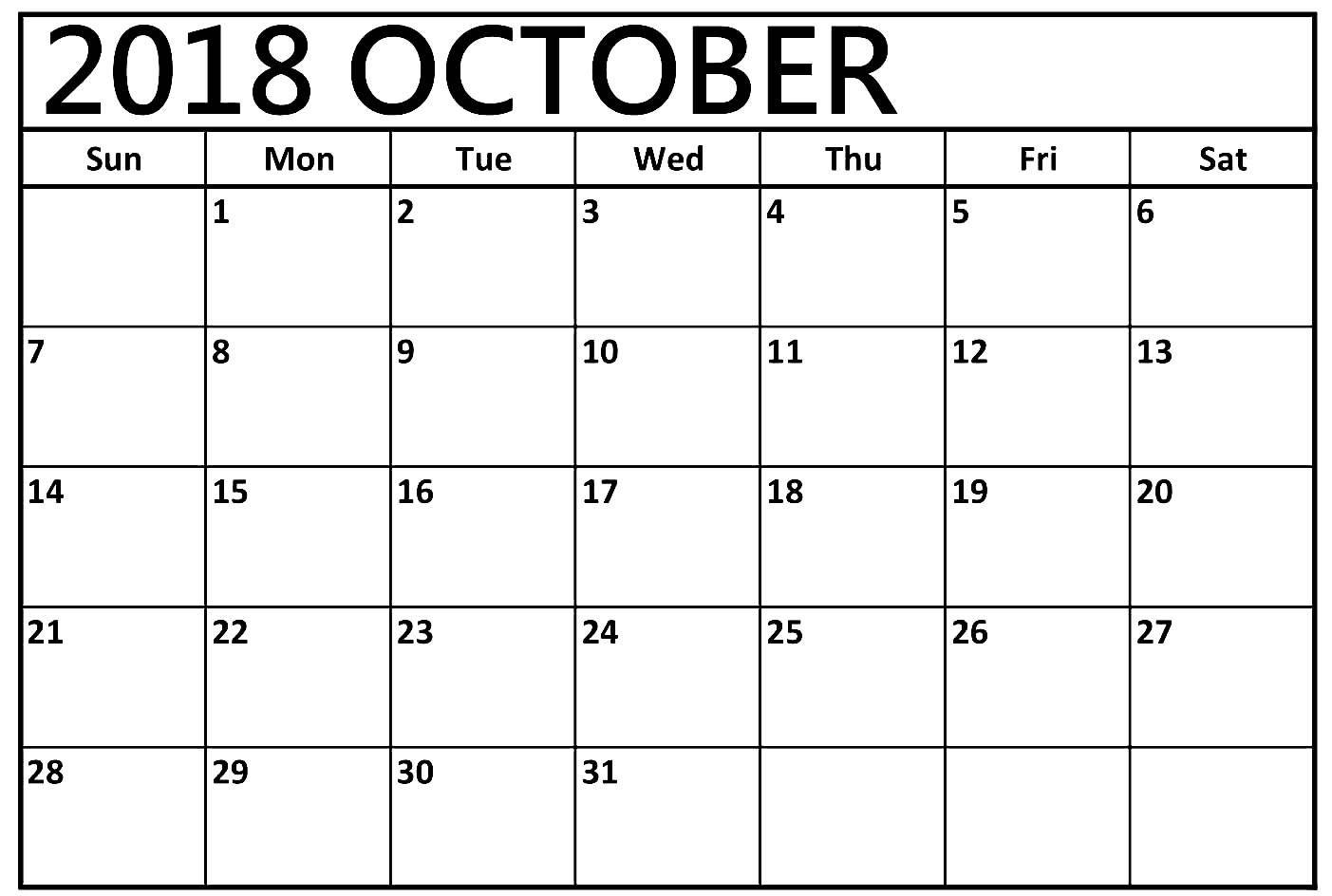 Free Printable October 2018 Blank Calendar Download Calendar
