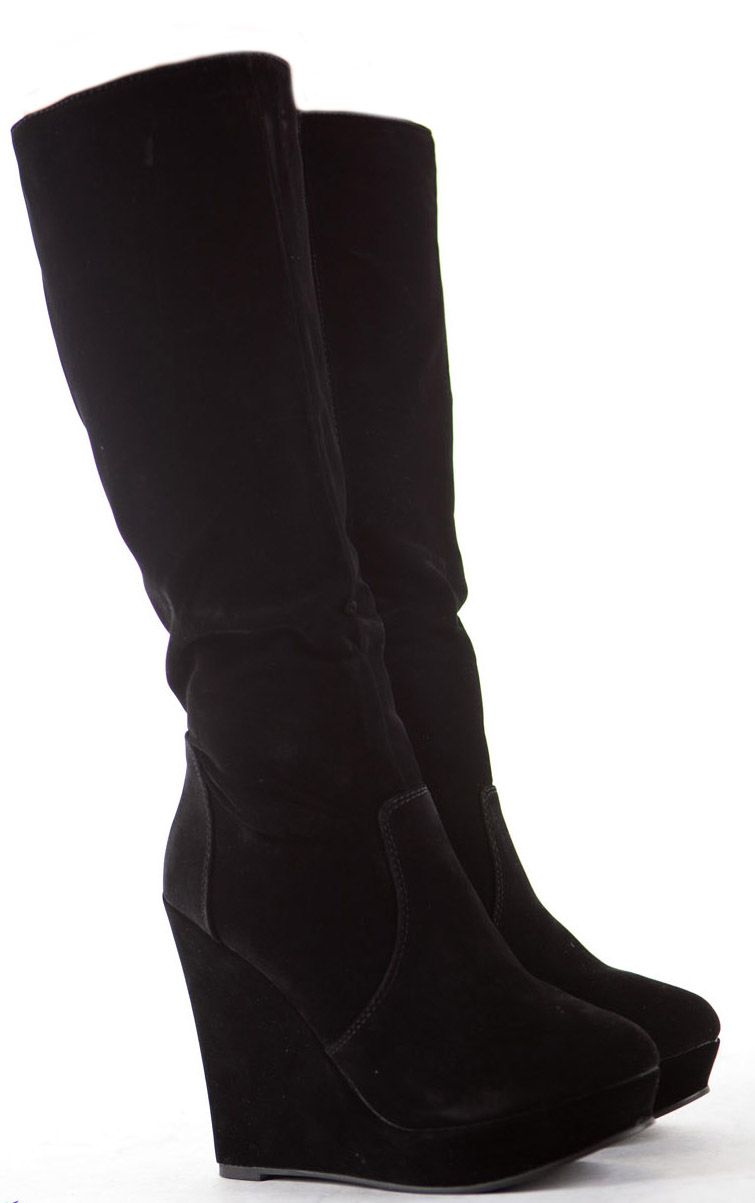 c470b06427b Womens Wedge Shoes Wedges High Heels Platform Winter Knee Boots Size 6