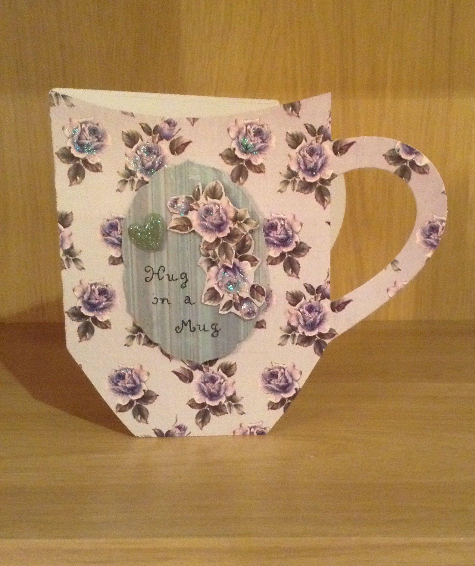 Handmade hug in a mug card made using tattered lace the worlds best die.