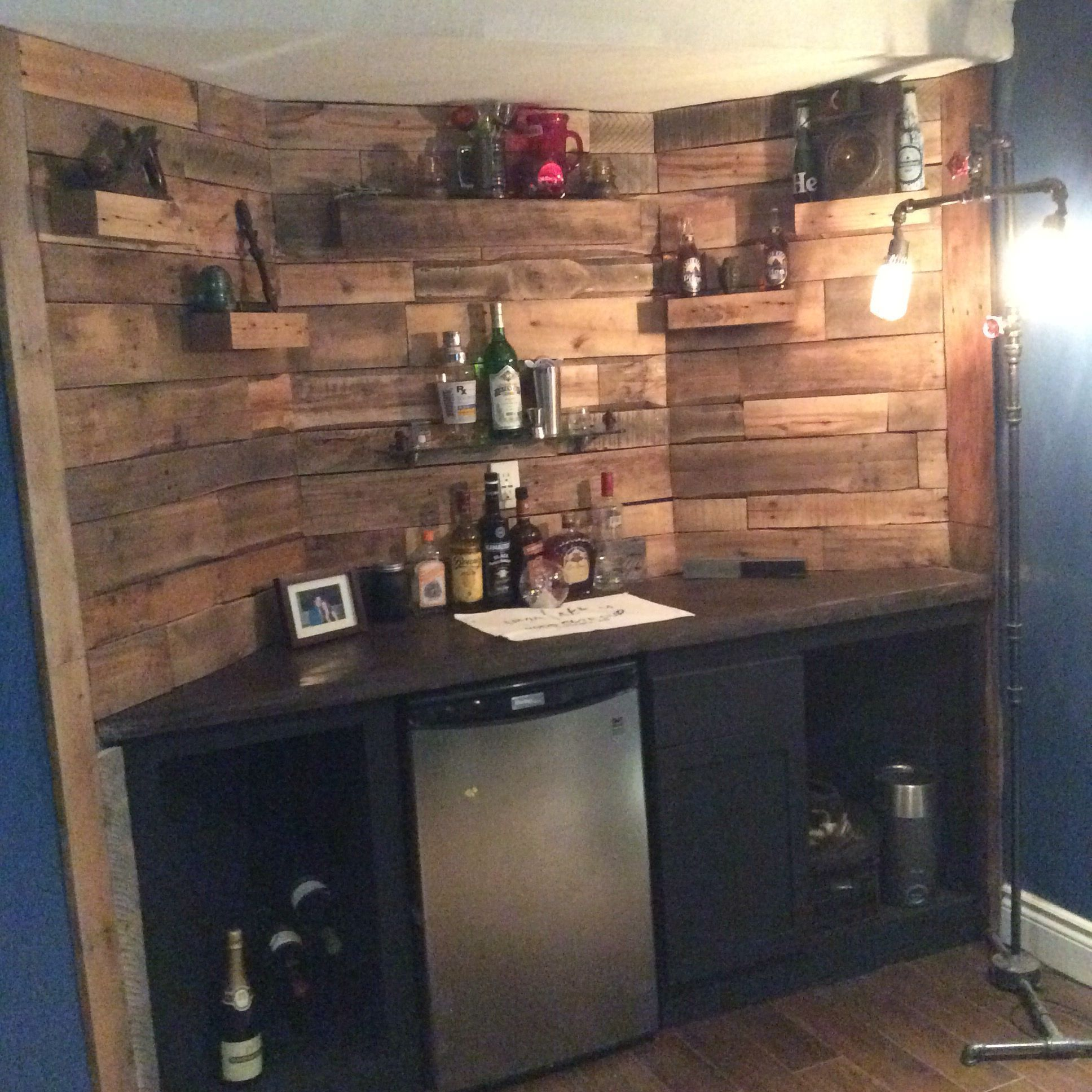 Basement Bar With Reclaimed Pallet Wall Concrete Countertop Basement Bar Designs Concrete Countertops Kitchen Remodel Countertops