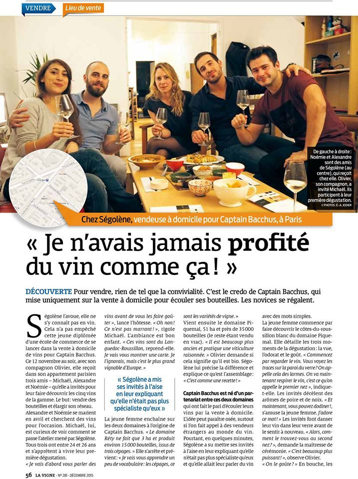 Très belle article de presse sur Captain Bacchus dans la revue la Vigne. A lire absolument !