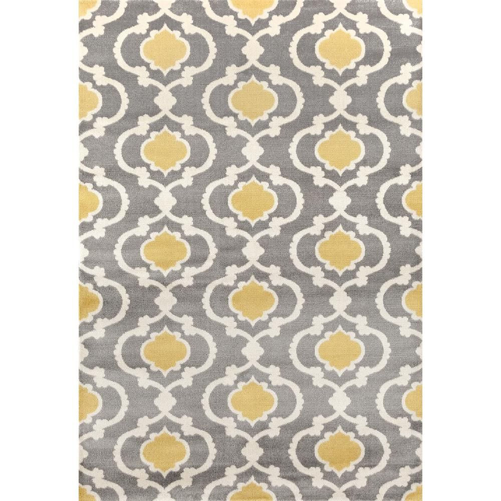 Ikbal Moroccan Trellis Contemporary Gray Yellow Indoor Area