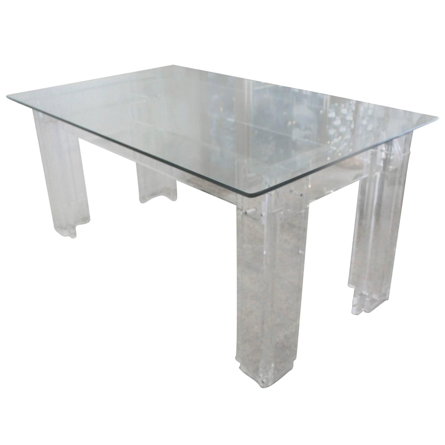 charles hollis jones lucite dining table desk thick hollywood