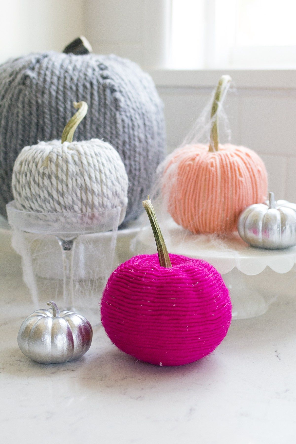 Yarn Covered Pumpkins How To For Halloween Fun No Carve