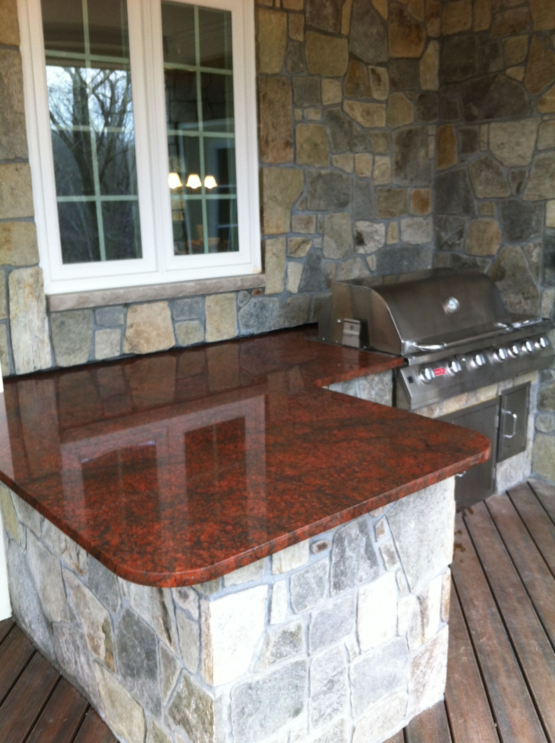 Red Stone Outdoor Kitchen Exhaust Fan For Beautiful Dragon Granite Countertop This