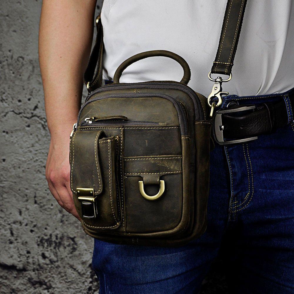Men Genuine Leather Phone Camera Zippy Fanny Waist Bag Satchel Arm Pack 3f5e88308f9f9