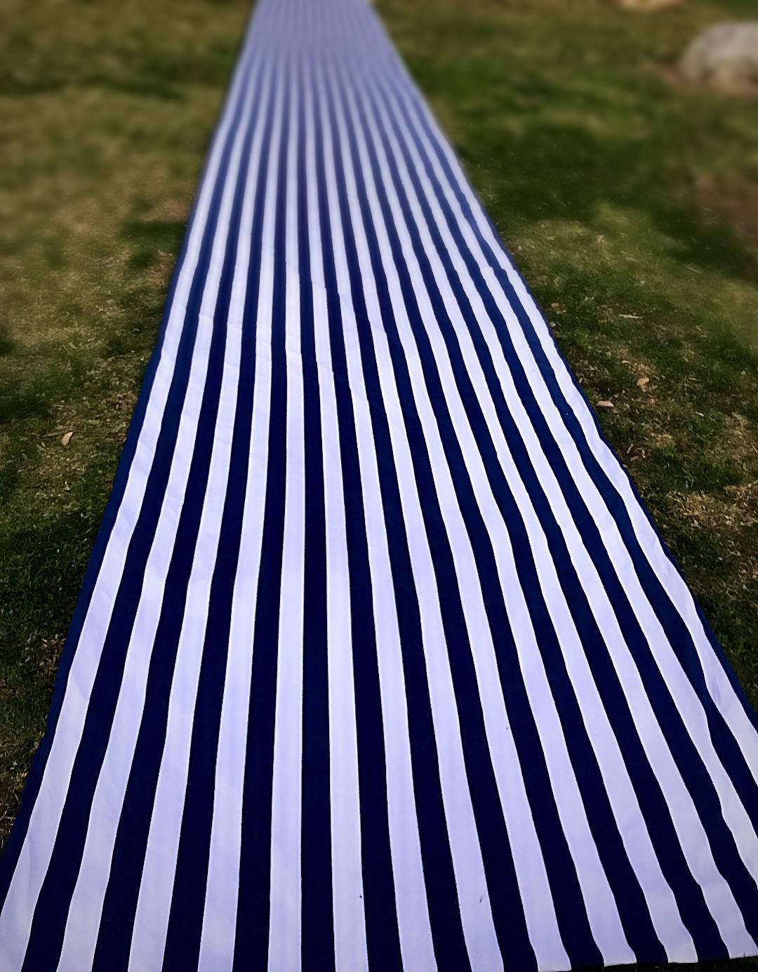 Striped Aisle Runner Wedding Preppy Nautical Themed Navy Blue And White Modern Black Beach
