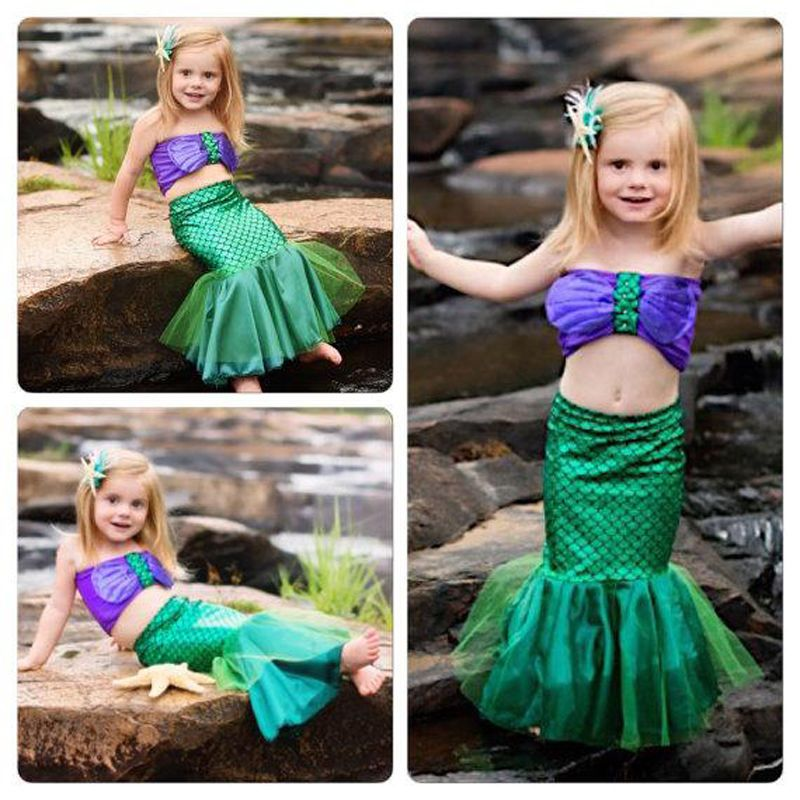ecb69005768ac Princess Baby Girls Full Mermaid Set Costume Little Mermaid Tail Bikini  Swimwear #Unbranded #BikiniSet