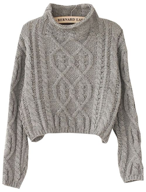 006f1b77bc Shop Grey High Neck Crop Cable Knit Sweater online. Sheinside offers Grey  High Neck Crop Cable Knit Sweater & more to fit your fashionable needs.