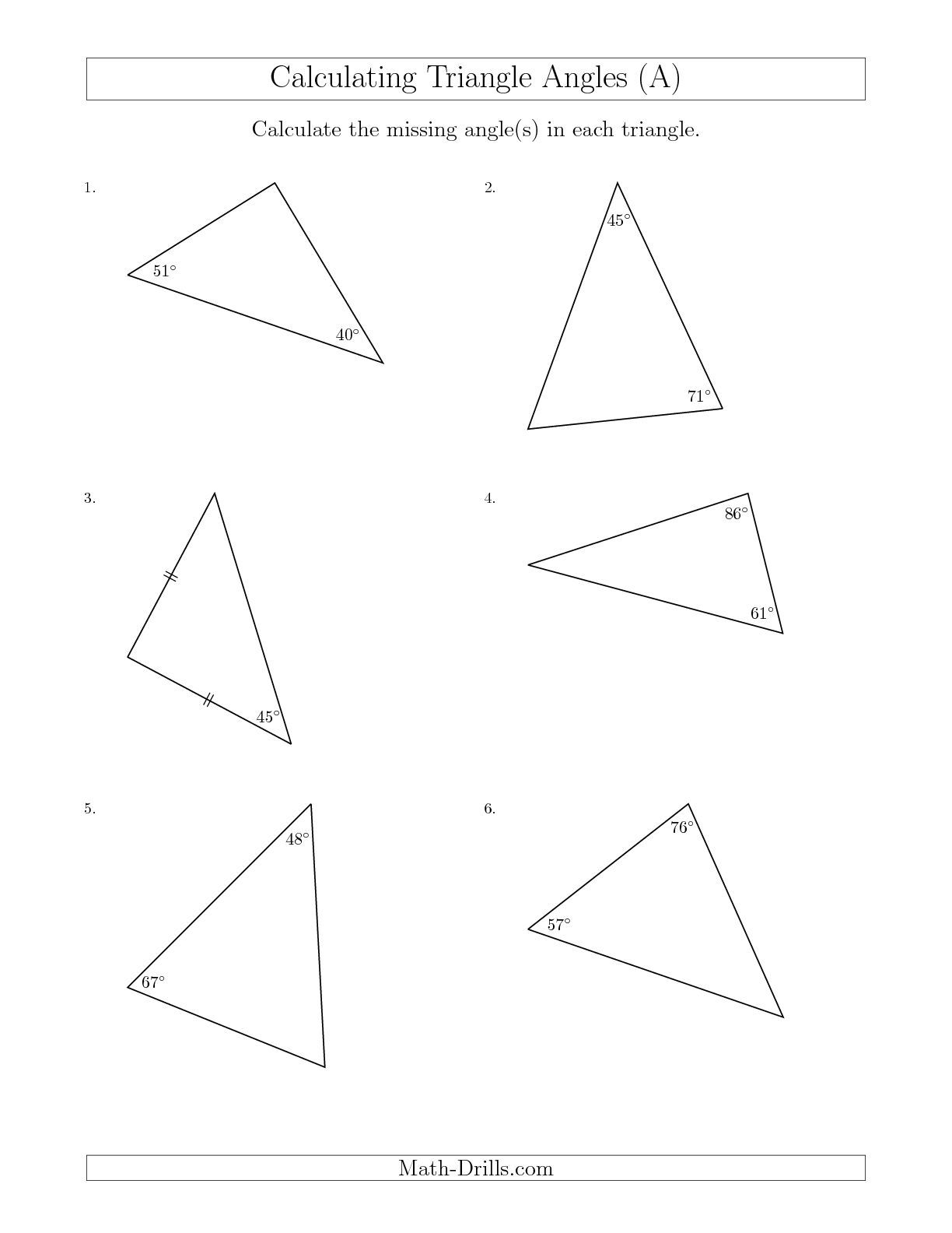Worksheets Triangle Worksheet new calculating angles of a triangle given the other math worksheet freemath