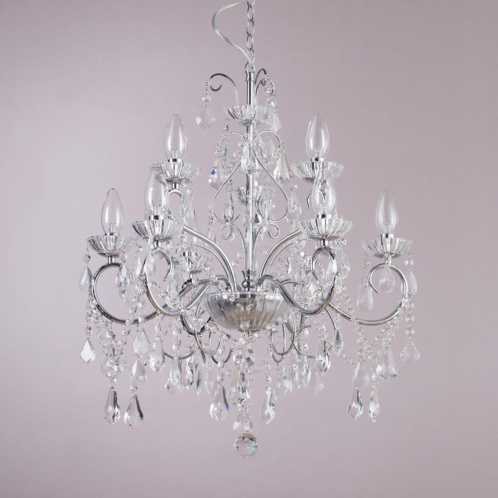 Bathroom chandelier w crystal glass beads and droplets 9 lights chrome crystal effect glass chandeliers aloadofball Choice Image