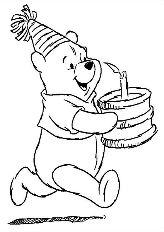 Winnie Pooh Birthday coloring page | Coloring pages | Colouring for ...