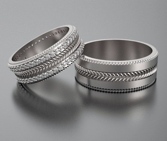 wedding band sethis and hers diamond wedding band setunique matching wedding ringsunique wedding ringunique matching bands