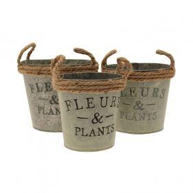 Zinc Planter Fleur With Rope Handle Set of Three
