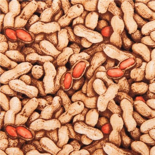 Peanut Nut snack food Fabric /  Food Festival by Elizabeth's Studio  383 - 1 Yard Cuts, 1/2 Yard Cuts, Fat Quarters by SewWhatQuiltShop on Etsy